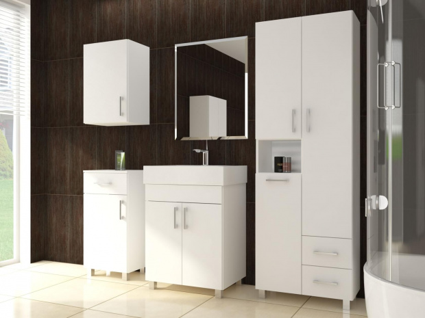 Tall bathroom cabinet with laundry basket 400mm wide white for Bathroom cabinets 400mm wide