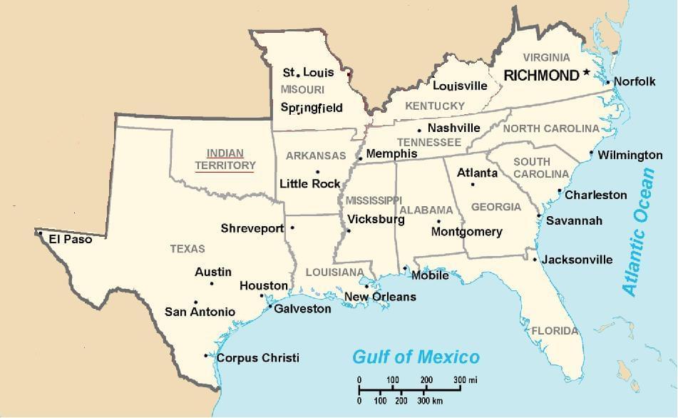 Mapa Skonfederowanych Stanow Ameryki