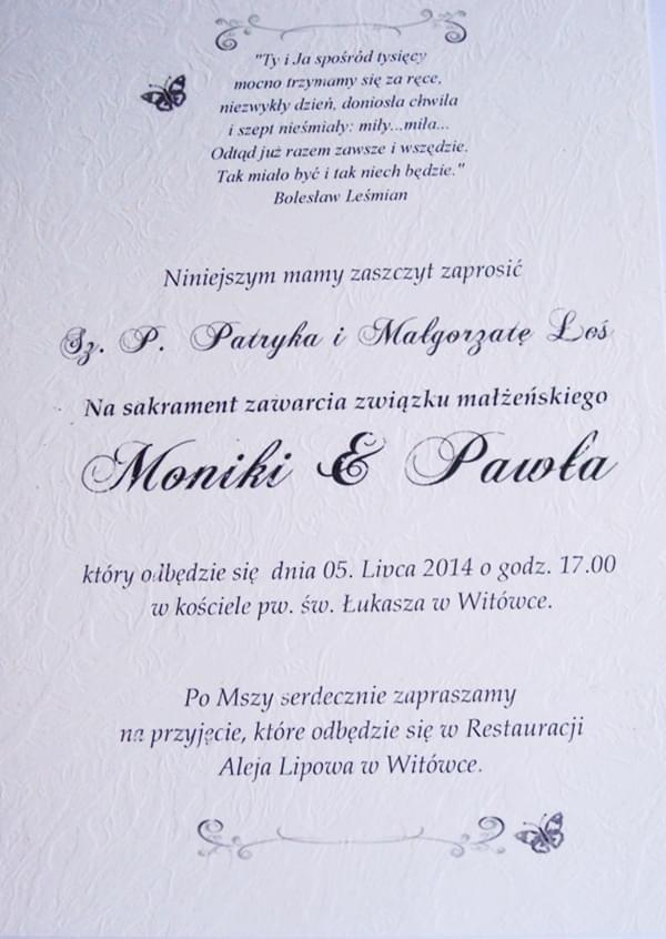4pliszka Zaproszenia Na ślub Chrzciny Urodziny Etykiety