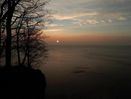 Poranek, niby pochmurny, niby bezwietrzny - widok z klifowego brzegu #klif #urwisko #wschód #zatoka #kuter